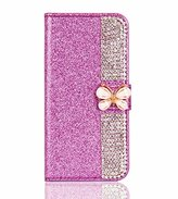 Superstart Purple iPhone se 3D Handmade Beauty Butterfly Rhinestone Diamond Case for iPhone 5/5s Bling PU Leather Flip Stand Credit Card Wallet Cover