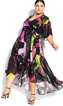 City Chic Colour Shock Maxi Dress - black