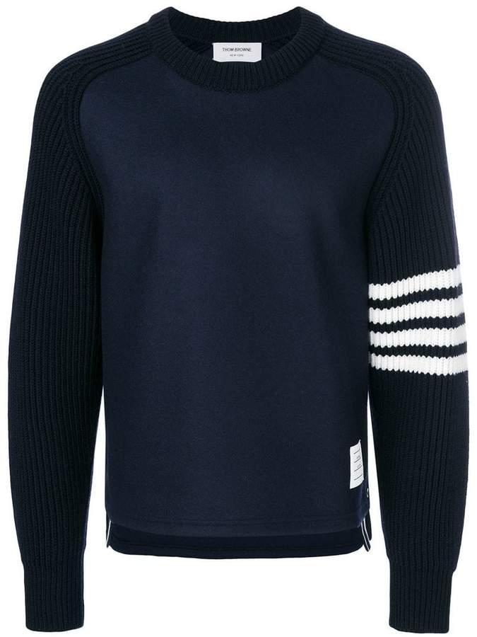 Thom Browne 4-Bar Saddle Sleeve Cashmere Pullover