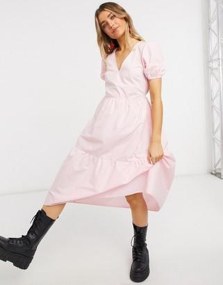 Miss Selfridge midi smock dress with tiered hem in pink