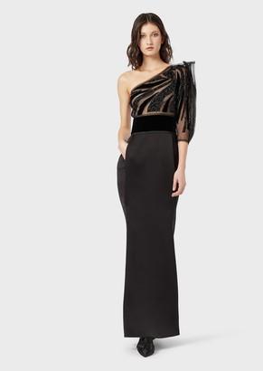 Giorgio Armani Silk Evening Dress With Embroidered, Transparent Bodice