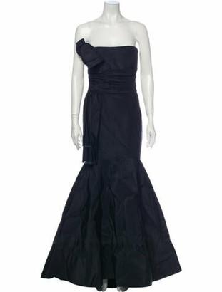 Oscar de la Renta Strapless Long Dress Blue