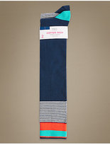 M&S Collection 2 Pair Pack Cotton Rich Knee High Socks