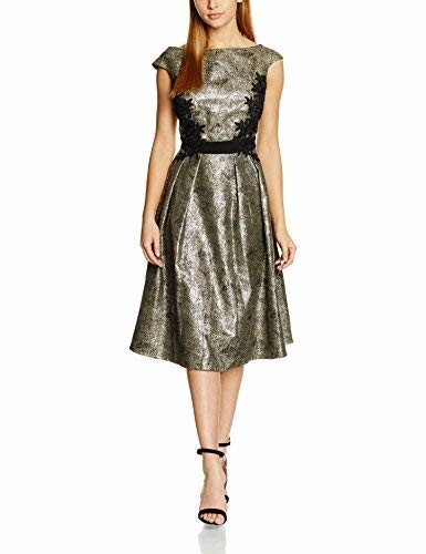 Little Mistress Women's Metallic and Lace Detail Dress