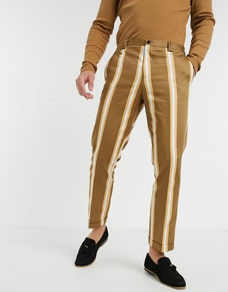 Viggo smart pants with stripes in mustard