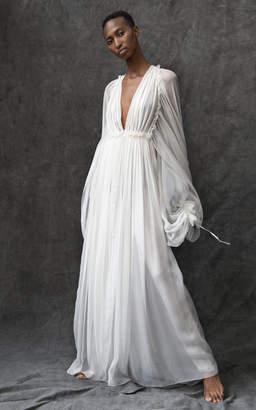 Maison Rabih Kayrouz Long Sleeve Silk Flowy Gown Size: 34