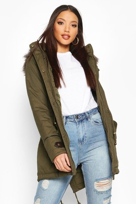boohoo Parka With Faux Fur Trim Hood