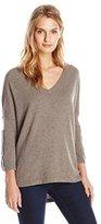 Greylin Women's Dale Cashmere Blend Patch V Neck Sweater