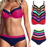 FITTOO Sexy Padded Bikini with underwire Push up Triangle Top Splicing Color Bottom 2 Piece Bathing Suits XXL