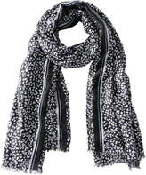 Joe Fresh Women's Dot Print Frayed Scarf, Black (Size O/S)