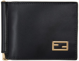 Fendi Black Baguette Bifold Money Clip Wallet