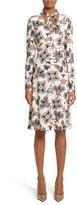 Valentino Garavani Women's Valentino Pop Floral Print Sable Crepe Tie Neck Dress
