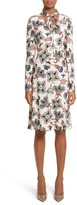 Valentino Women's Pop Floral Print Sable Crepe Tie Neck Dress