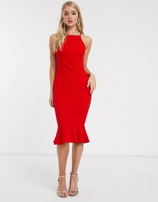 AX Paris square neck frill hem bodycon dress-Red