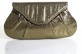 Lauren Merkin Gold Sheer Magnet Closure 2 Pocket Clutch Size Small