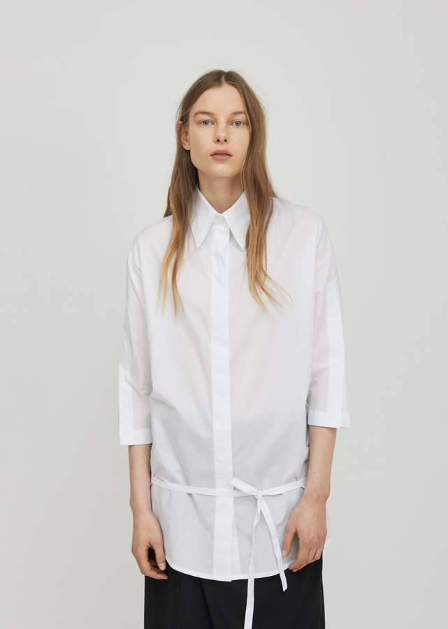 Ann Demeulemeester Belted Cotton Shirt Cotone White