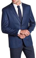 Vince Camuto Blue Jacquard Two Button Notch Lapel Trim Fit Sport Coat