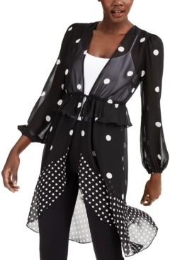 INC International Concepts Inc Polka-Dot Tie-Waist Kimono, Created for Macy's