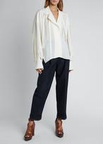 Chloé Silk Jacquard Long-Sleeve Tie-Neck Blouse
