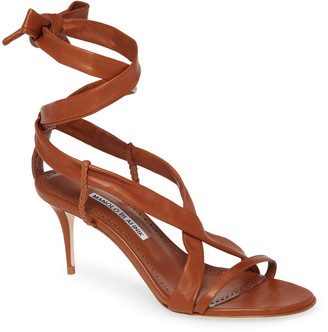 Manolo Blahnik Tor Ankle Wrap Sandal