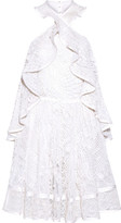 Givenchy Halterneck Mini Dress In White Embellished Embroidered Cotton-tulle - FR36