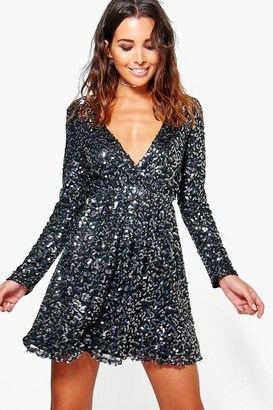 boohoo Boutique Sequin Wrap Skater Dress