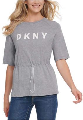 DKNY Drawstring-Waist Logo T-Shirt