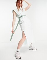 Thumbnail for your product : Weekday Kai organic cotton midi t-shirt dress with shoulder pads in green