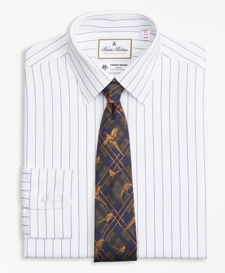 Brooks Brothers Luxury Collection Madison Classic-Fit Dress Shirt, Franklin Spread Collar Pinstripe