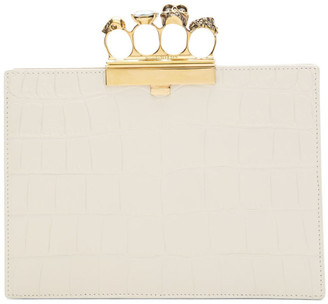 Alexander McQueen Off-White Croc Small Four Ring Clutch