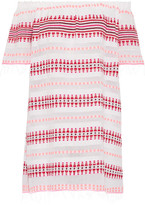 Lemlem Tabtab Off-the-shoulder Striped Cotton-blend Gauze Mini Dress - White