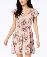 As U Wish Juniors' Printed Flutter-Sleeved Fit & Flare Dress