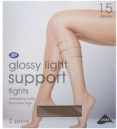 Boots 15 Denier Light Support Gloss Black Tights 2 Pair Pack
