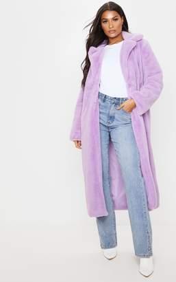 PrettyLittleThing Lilac Maxi Faux Fur Coat