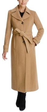Anne Klein Petite Single-Breasted Belted Wrap Maxi Coat, Created for Macy's