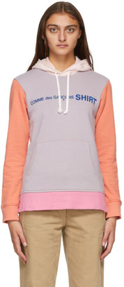 Comme des Garçons Shirt Purple and Orange Colorblock Front Logo Hoodie