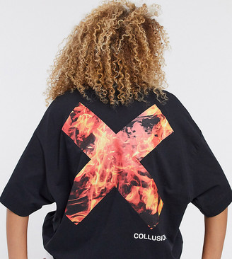 Collusion Unisex t-shirt with flame logo print in black