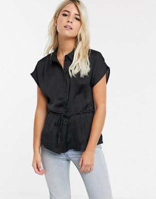 JDY Sean short sleeve utility shirt-Black