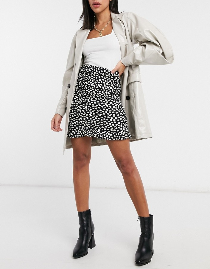 Thumbnail for your product : New Look ruched mini skirt in polka dot