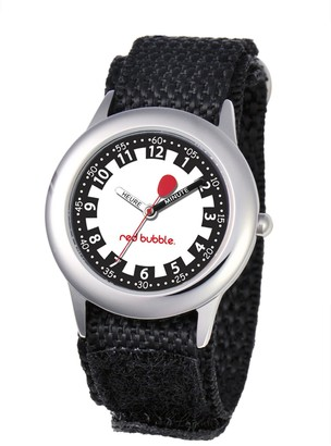 Red Bubble W002060 Boys' Quartz Educational Watch White Dial Black Nylon Strap