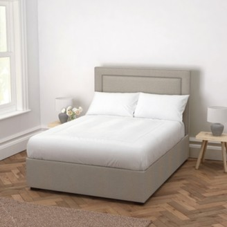 The White Company Cavendish Wool Bed - Headboard Height 130cm, Light Grey Wool, Emperor