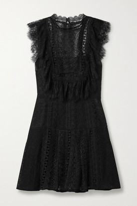 Self-Portrait Grosgrain-trimmed Paneled Lace Mini Dress - Black