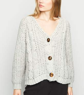 New Look Cameo Rose Chunky Cable Knit Cardigan