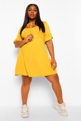 boohoo Plus Jersey Ruffle Smock Dress