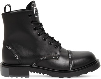 Valentino Logo Leather Lace-up Boots