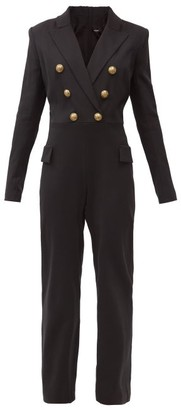 Balmain Single-breasted Cotton-blend Crepe Jumpsuit - Black