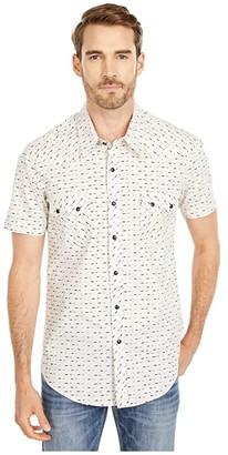 Rock and Roll Cowboy Short Sleeve Arrow Print Snap Shirt B1S5105 (Natural) Men's Clothing