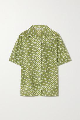 Acne Studios Floral-print Cotton-blend Fil Coupe Shirt - Green