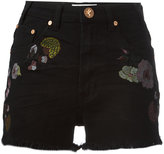 One Teaspoon Birds of Paradise embroidered denim shorts