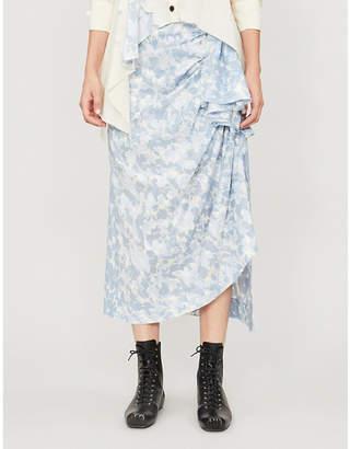 WEN PAN Floral-pattern A-line cotton midi skirt